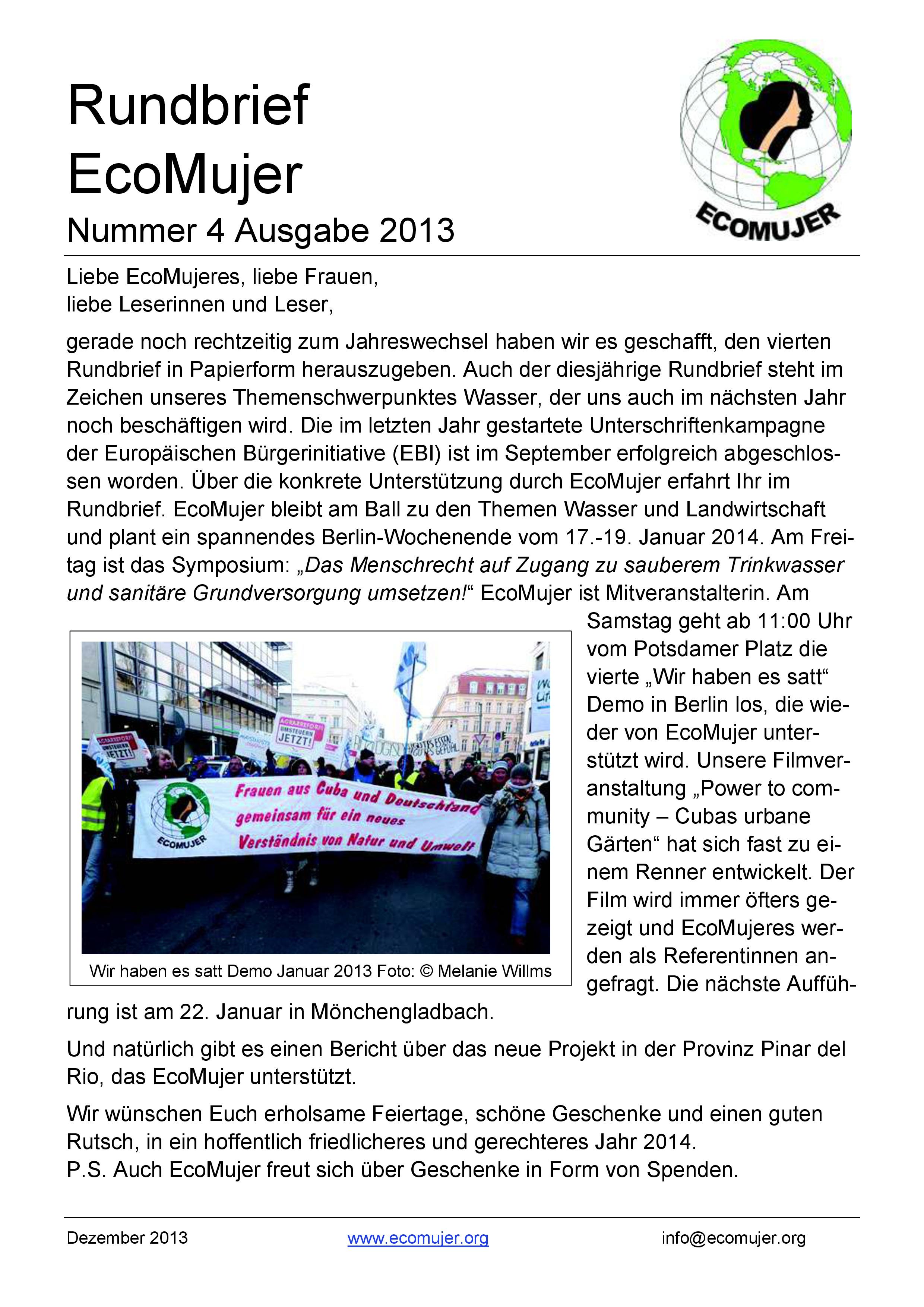 EcoMujer Rundbrief 4 – 2013 | EcoMujer e.V.